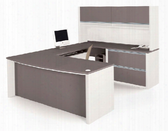 Bow Front U Shaped Desk With Hutch 93863 By Bestar