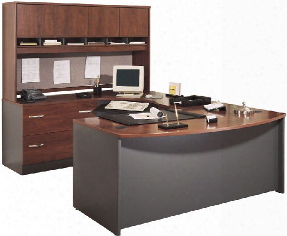 Bow Front U Shaped Desk With Hutch By Bush