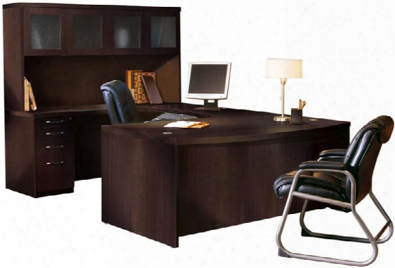 Bowfront U Shaped Desk With Hutch By Mayline Office Furniture