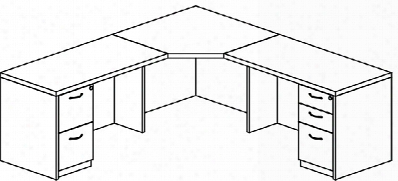 Double Pedestal Corner Desk By Mayline Office Furniture