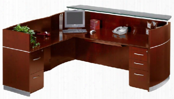 Double Pedestal L Shaped Napoli Reception Station By Mayline Office Furniture