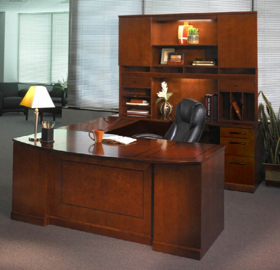Double Pedestal U Shaped Bow Front Desk With Hutch By Mayline Office Furniture