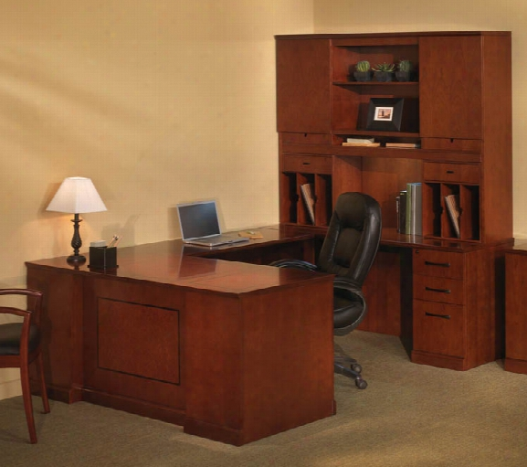 Double Pedestal U Shaped Desk With Hutch By Mayline Office Furniture