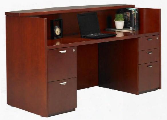 Double Pedestal Wood Veneer Reception Desk By Mayline Office Furniture