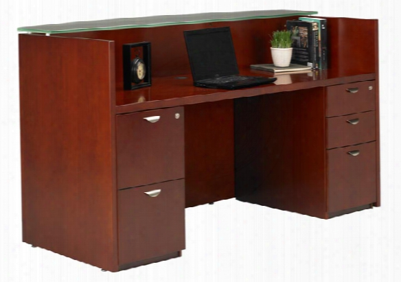 Double Pedestal Wood Veneer Reception Desk With Glass Top By Mayline Office Furniture