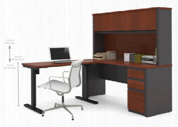 L Desk & Hutch With Electric Height Adjustable Table By Bestar