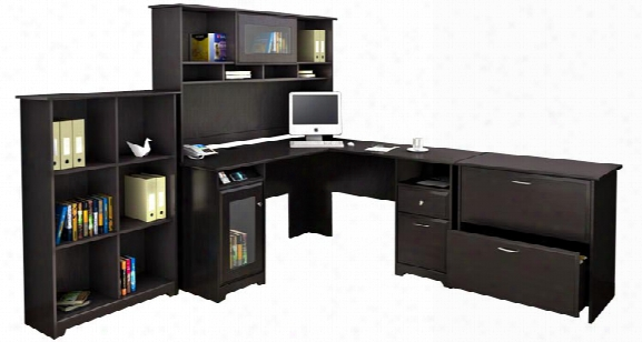L Shaped Desk And Hutch With Lateral File And Bookcase By Bush