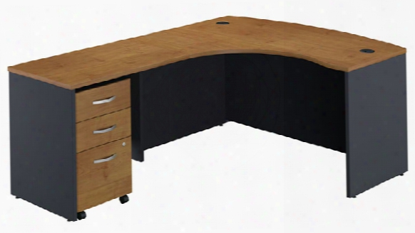 L Shaped Desk With 3 Drawer File By Bush
