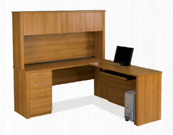 L Shaped Desk With Hhutch 60865 By Bestar
