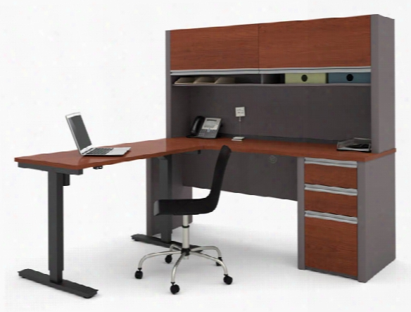 L Shaped Desk With Hutch & Adjustable Height Table By Bestar