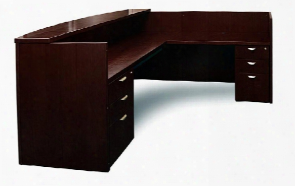 L Shaped Double Pedestal Reception Station By Mayline Office Furniture