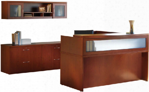 L Shaped Reception Desk With Additional Storage By Mayline Office Furniture