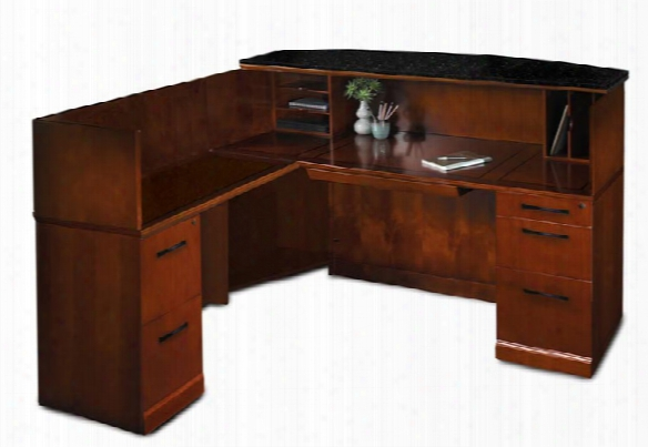 L Shaped Reception Desk With Granite Counter By Mayline Office Furniture