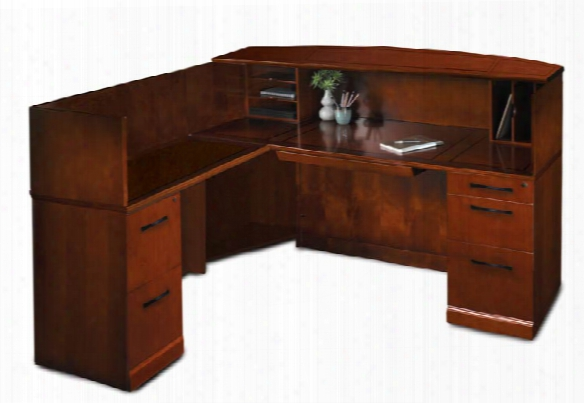 L Shaped Reception Desk With Veneer Counter By Mayline Office Furniture