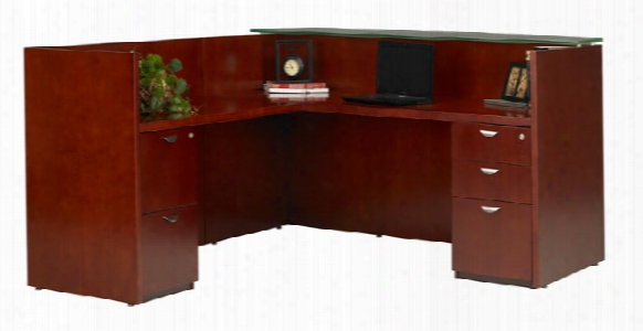 L Shaped Wood Veneer Reception Desk With Glass Top By Mayline Office Furniture