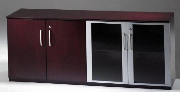 Low Wall Cabinet With Wood And Glass Doors By Mayline Office Furniture