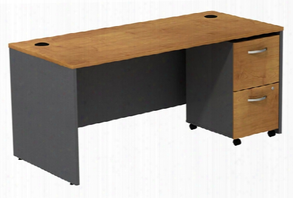Managers Desk With 2 Drawer File By Bush