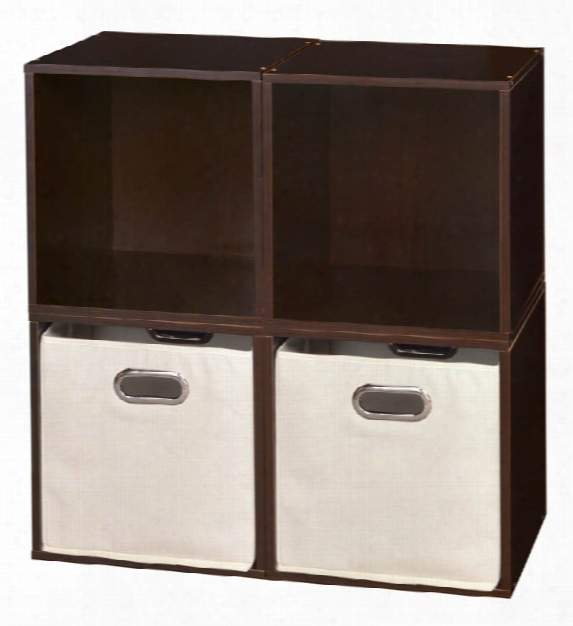 Niche Cubo Storage Set - 4 Cubes And 2 Canvas Bins By Regency Furniture