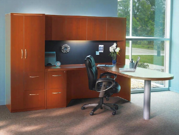 Peninsula L Shaped Desk With Additional Storage By Mayline Office Furniture
