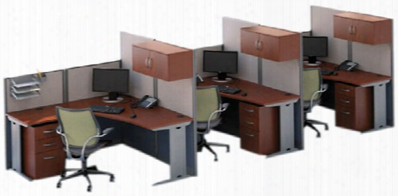 Set Of 3 L Workstations By Bush