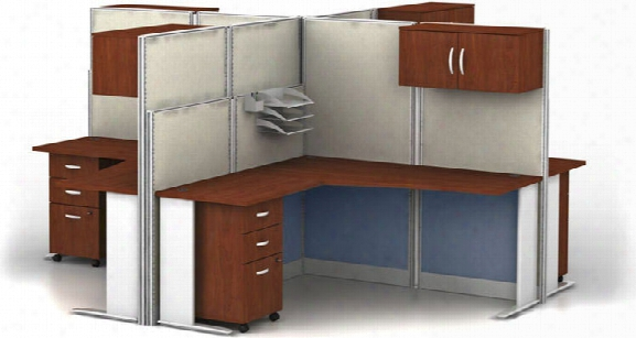 Set Of 4 L Workstations By Bush