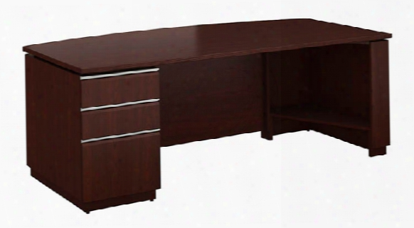 Single Pedestal Bow Front Desk By Bush