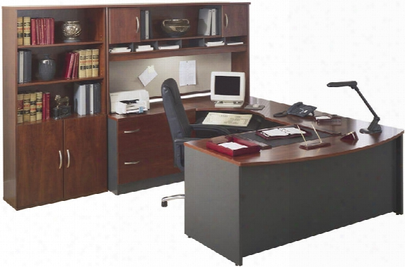 U Shaped Desk With Hutch And Bookcase By Bush