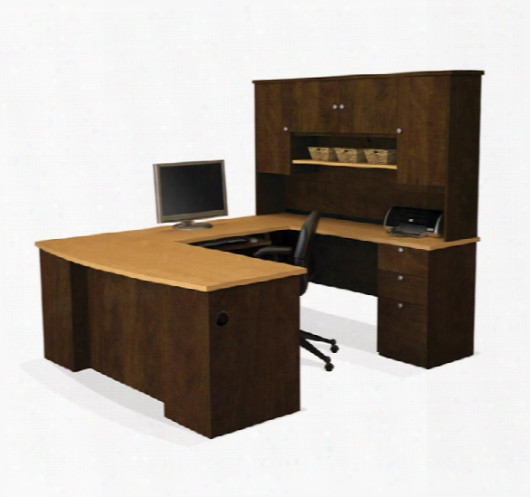 U Shaped Desk With Hutch By Bestar