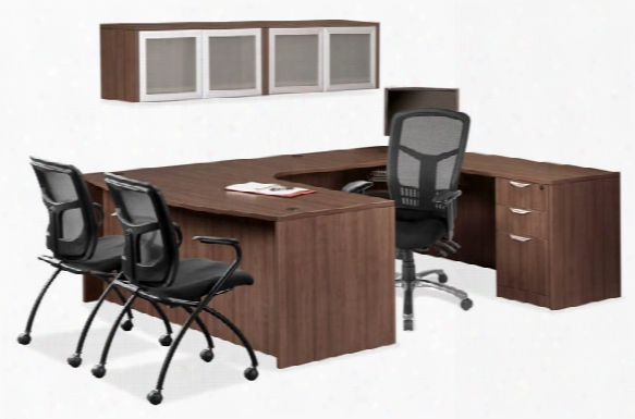 U Shaped Desk With Open Hutch By Office Source