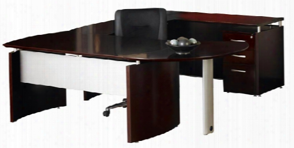 U Shaped Napoli Desk With Curved Extension By Mayline Office Furniture