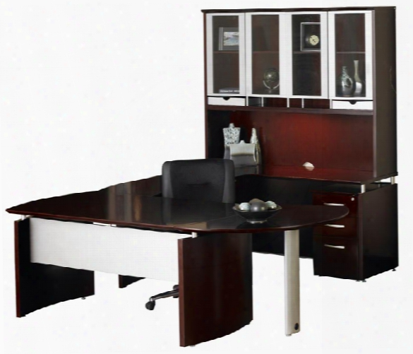 U Shaped Napoli Desk With Hutch And Curved Extension By Mayline Office Furniture