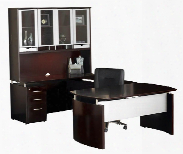 U Shaped Napoli Desk With Hutch By Mayline Office Furniture