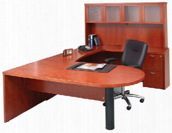 U Shaped Single Pedestal Peninsula Desk With Hutch By Mayline Office Furniture