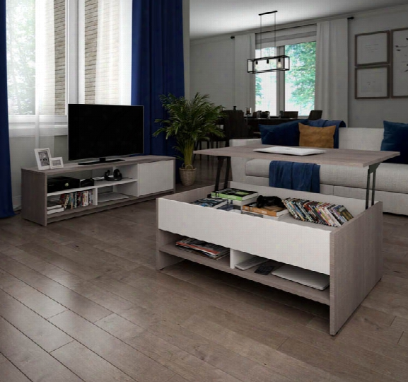 2-piece Lift-top Storage Coffee Table And Tv Stand Set By Bestar