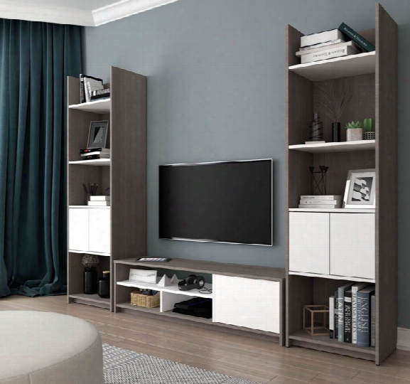3-piece Tv Stand And 2 Storage Towers Set By Bestar