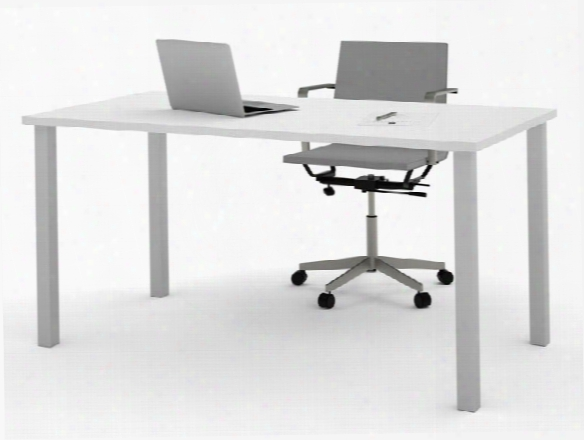 "30"" X 60"" Table With Square Metal Legs By Bestar"