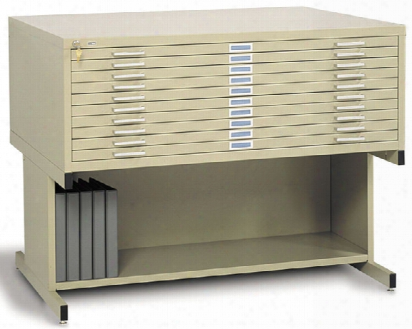 "43""w 10 Drawer Steel Flat File With Base By Safco Office Furniture"
