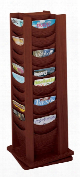 48 Pocket Solid Wood Rotating Display Rack By Safco Office Furniture
