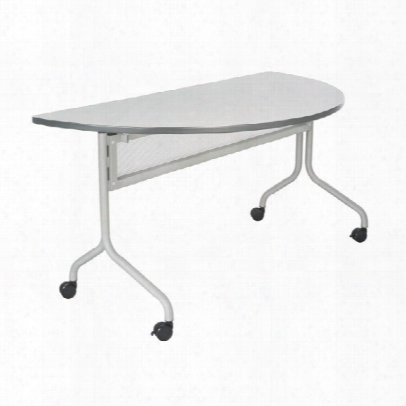 "48"" X 24"" Mobile Training Table, Half Round By Safco Office Furniture"