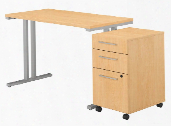 "48""w X 24""d Table Desk With 3 Drawer Mobile File Cabinet By Bush"