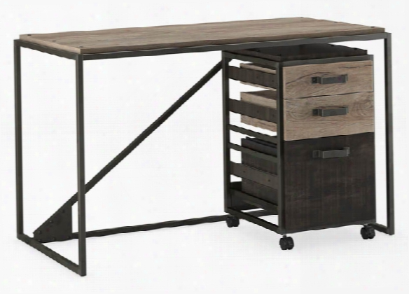 "50""w Industrial Desk With 3 Drawer Mobile File Cabinet By Bush"