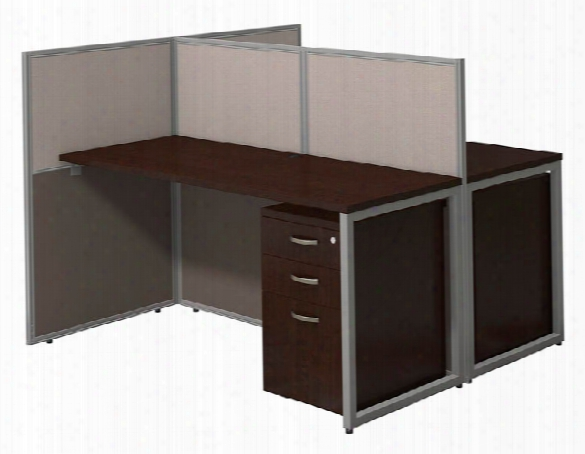 "60""w 2 Person Straight Desk Open Office With 3 Drawer Mobile Pedestals By Bush"