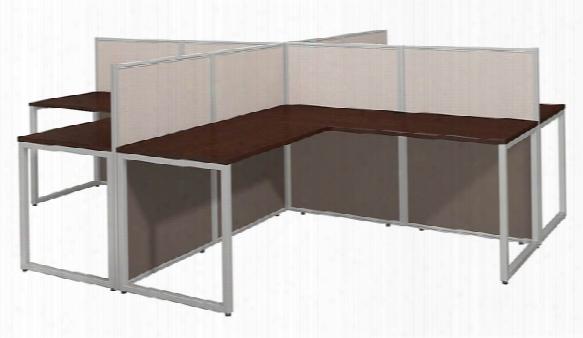 "60""w 4 Person L Desk Open Office By Bush"