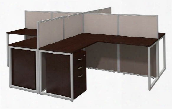 "60""w 4 Person L Desk Open Office With 3 Drawer Mobile Pedestals By Bush"