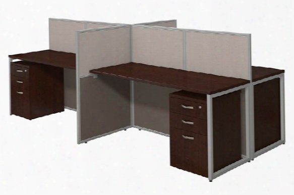 """60""""w 4 Person Straight Desk Open Office With 3 Drawer Mobile Pedestals By Bush"""