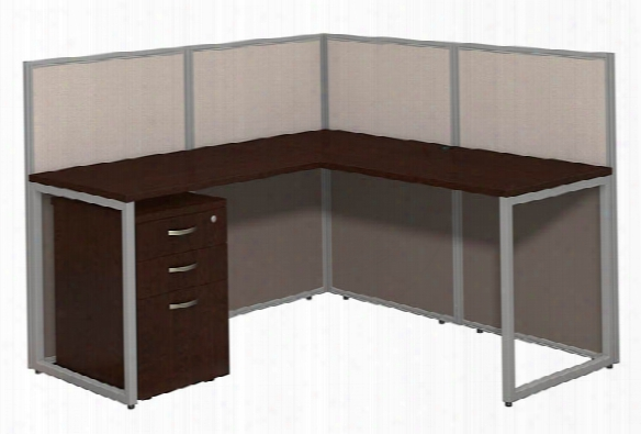 "60""w L Desk Open Office With 3 Drawer Mobile Pedestal By Bush"