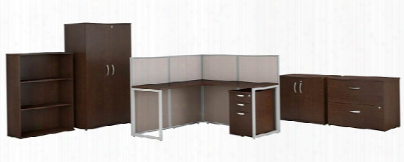 "60""w L Shaped Cubicle Desk With Storag E And Filing Cabinets By Bush"