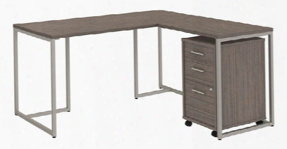 "60""w L Shaped Desk With 30""w Return And Mobile File Cabinet By Bush"