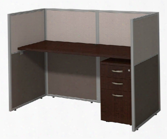 "60""w Straight Desk Closed Office With 3 Drawer Mobile Pedestal By Bush"