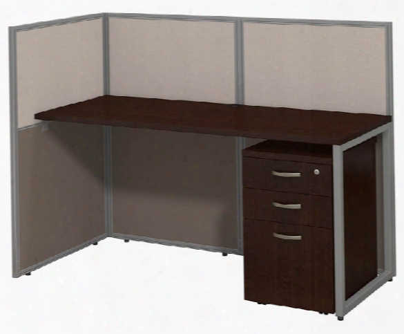 "60""w Straight Desk Open Office With 3 Drawer Mobile Pedestal By Bush"
